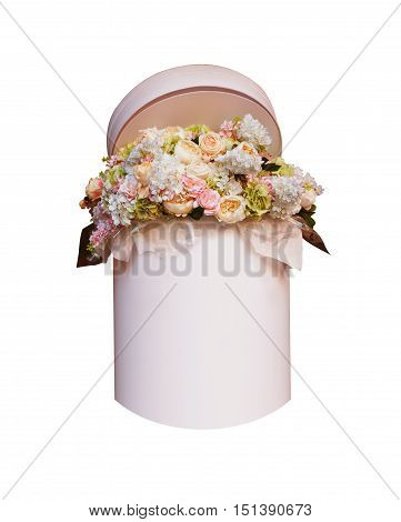Bouquet of flowers in the box isolated on white background. Space for your text.