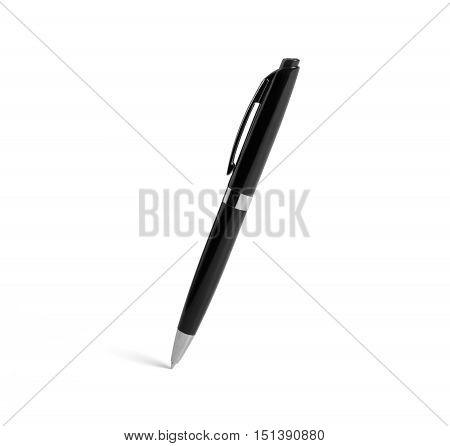 Black plastic ballpoint pen on a white background