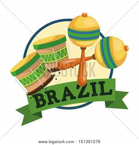 Marca and drum icon. Brazil culture america and tourism theme. Colorful design. Vector illustration