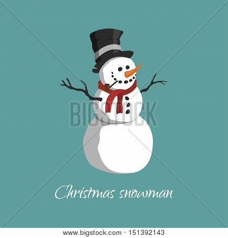 Christmas snowman in a top hat scarf and with a pipe. Vector illustration