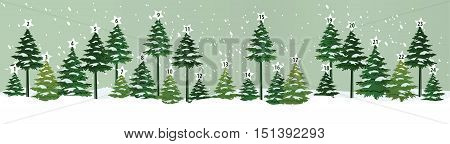 Advent calendar with Christmas tree - vector illustration