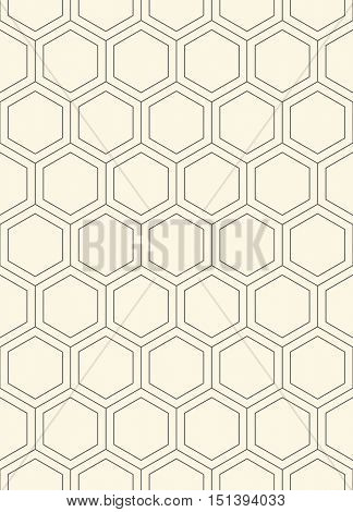 Seamless Hexagon Pattern. Vector Monochrome Minimal Background. Abstract Grid Ornament. Minimalist Graphic Design