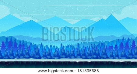 Cartoon winter landscape with ice, snow and cloudy sky. vector nature background for games.Vector Illustration for your application , project.