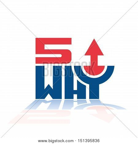 5 why quality tool process improvement method up arrow trend vector design illustration