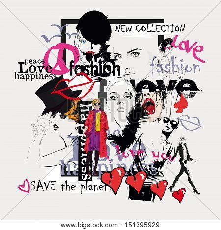 Beautiful collage faces of women. Vector illustration