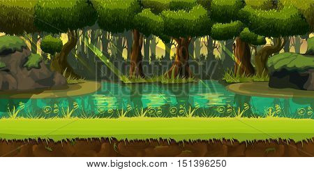Seamless spring forest landscape, never ending vector nature background with separated layers for game design .2d game application. Vector Illustration for your application , project. poster