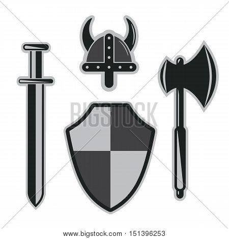 viking sword, helmet, shield armor set abstract vector illustration