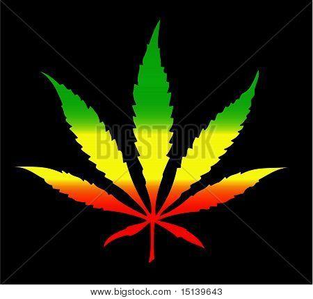 Cannabis Leaf Rasta Colors
