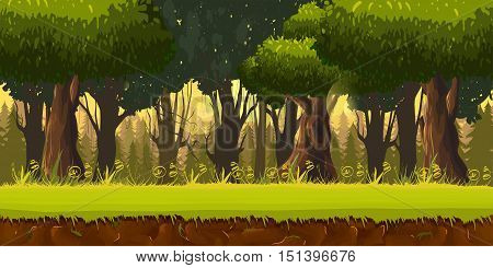 Seamless spring forest landscape, never ending vector nature background with separated layers for game design .2d game application. Vector Illustration for your application , project.