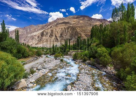River at Turtuk village Diskit Jammu and Kashmir India