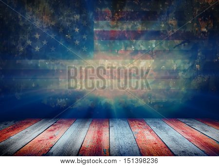 USA style background - empty wooden table for display montages