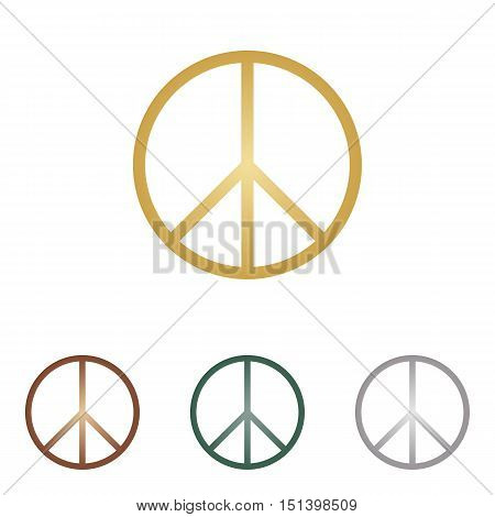 Peace Sign Illustration. Metal Icons On White Backgound.