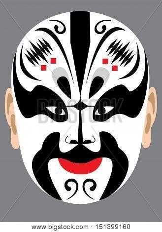 Chinese peking opera mask on grey background