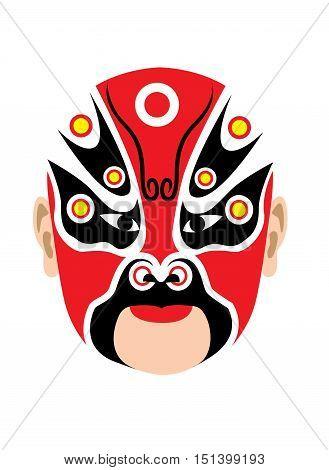 Traditional Chinese peking opera mask on white background