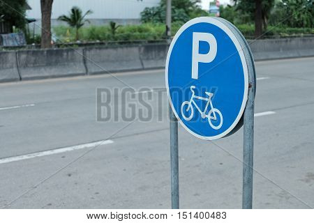 Signs for bicycle parking. Park area sign for Bicycles