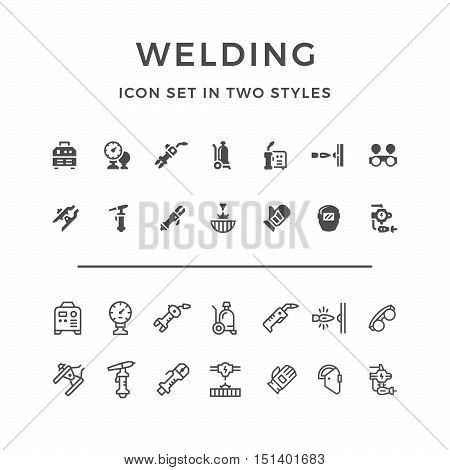 Set icons of welding in two styles isolated on white. Vector illustration
