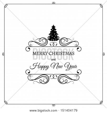 Merry Christmas And A Happy New Year. Greeting Card. Christmas Tree. Filigree scroll and frame divider decorated. Ornate Frame. Vector Illustration.