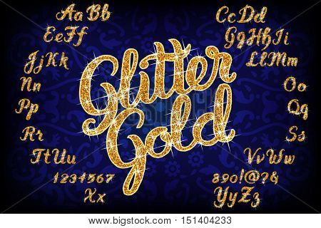 Handwritten Glitter Gold alphabet font. Hand drawn calligraphy brush script letters. Stock vector lettering typography