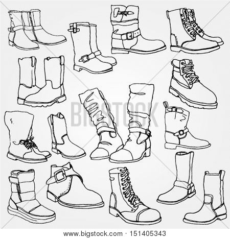 Mens Winter Boots Doodled