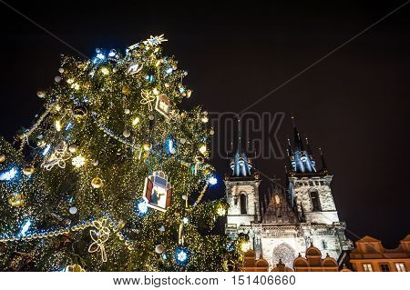 Christmas tree and Tyn church at Old town square. Prague Czech Republic
