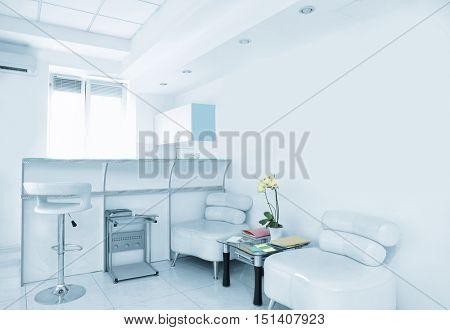 Reception in modern beauty salon