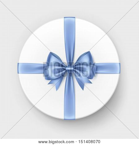 Vector White Round Gift Box with Shiny Light Blue Satin Bow and Ribbon Top View Close up Isolated on Background