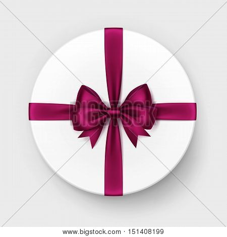 Vector White Round Gift Box with Shiny Burgundy Red Vinous Satin Bow and Ribbon Top View Close up Isolated on Background