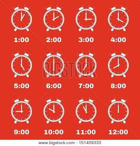 The Alarm clock icon.  Alarm clock symbol. Flat. Vector illustration. Set