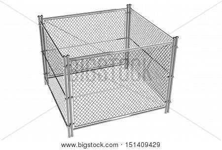 Metal Wire Fence Isolated A wire fence isolated on white. 3d Render