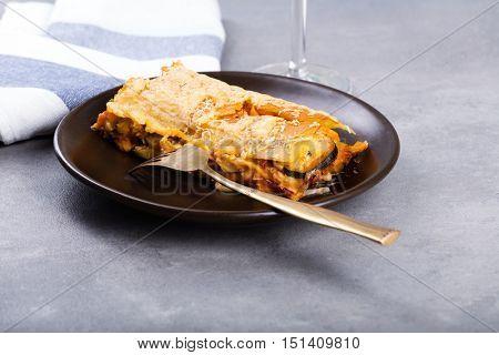 Vegetarian lasagne on the plate