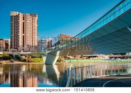 Adelaide Australia - September 11 2016: Adelaide city centre viewed towards the foot bridge in Elder Park on a bright day
