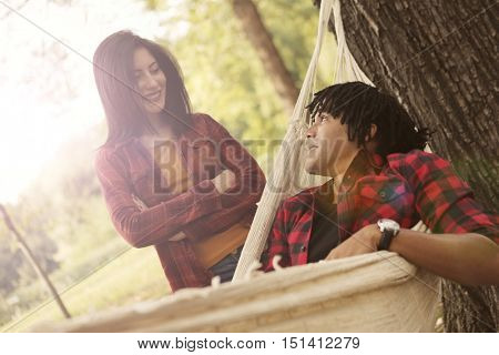 Couple in a campground