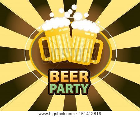 Beer mugs with froth over yellow and brown background vector illustration