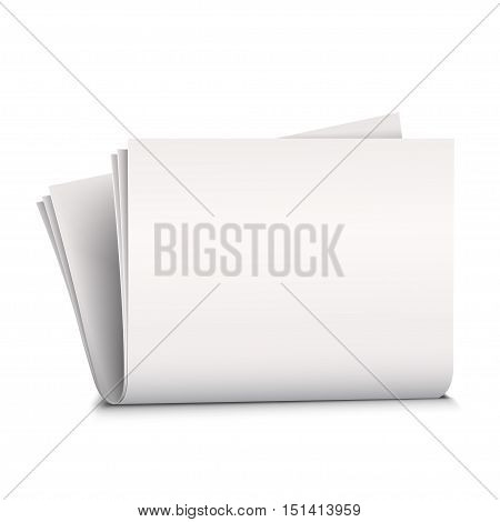 Vector mock up newspaper isolated on white background.