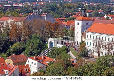 CROATIA ZAGREB - 25 SEPTEMBER 2016: Zagreb Funicular, connecting the Ilica street with Strossmayer promenade, the funicular was built in 1890
