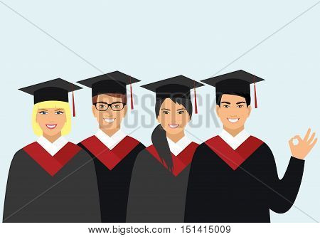 a group of graduates of different nationalities in gowns