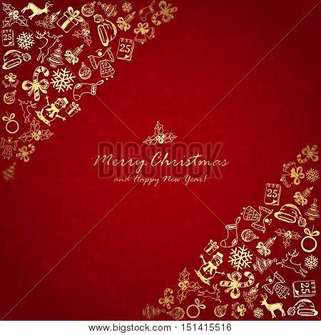 Golden Christmas elements in corner on red background, holiday decorations with Christmas tree, balls, bells, angel, Santa hat, sock, gift box, holly berries, candy cane, candle, snowflakes, snowman, deer and inscriptions Merry Christmas and Happy New Yea