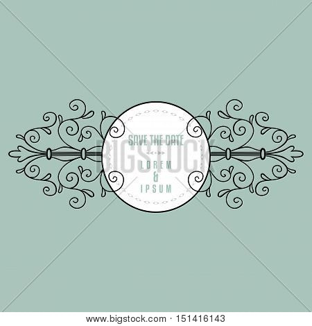Romantic vintage elegant wedding or thank you card template with flourish ornament. Ornate frame. Vector illustration.