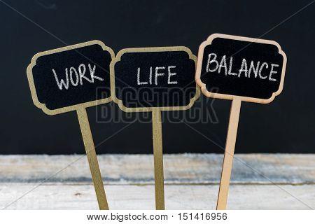 Motivational Message Work Life Balance Written With Chalk