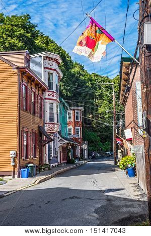 JIM THORPE PENNSYLVANIA - SEPTEMBER 28: Historic homes with shops on Race St. on September 28 2016 in Jim Thorpe Pennsylvania.