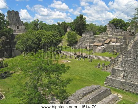 Plaza Of Old Maya Ruins In The Jungle, Tikal, Guatemala