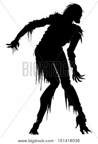 Illustration eerie zombie man in ragged clothes