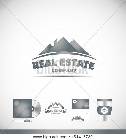 Real estate house roof silver grey vector logo icon sign design template corporate identity
