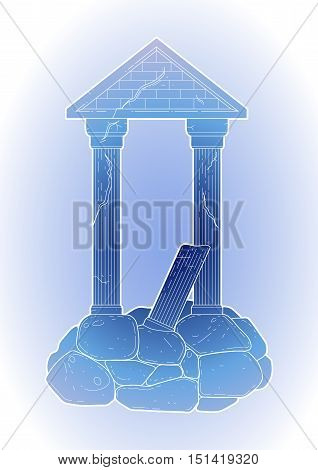 Graphic half-ruined Roman architecture with column in line art style. Ancient building isolated on the white background in blue colors.