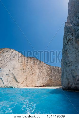 Famous shipwreck on Navagio Beach, Zakynthos, Greece