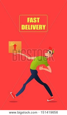 Fast free delivery. Courier runs with box on the order.Cheerful man courier.Colorful characters in a flat style