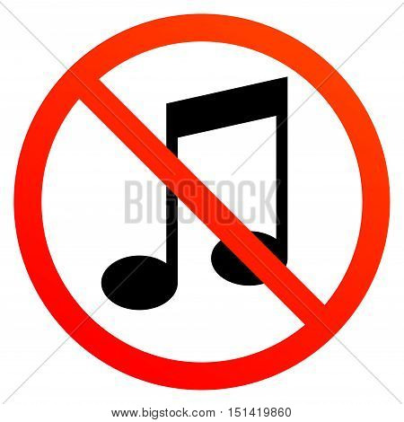No music sign or symbol, vector illustration