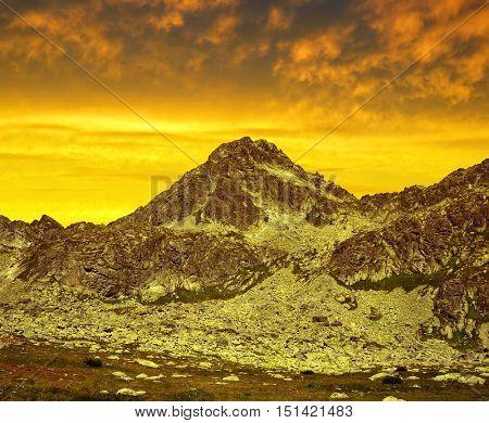 Mountain Strbsky Stit at sunset. Mlynicka Valley in Vysoke Tatry (High Tatras), Slovakia