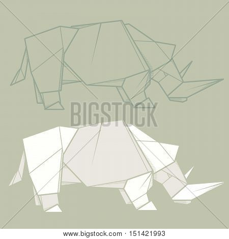 Set vector simple illustration paper origami and contour drawing of rhinoceros.