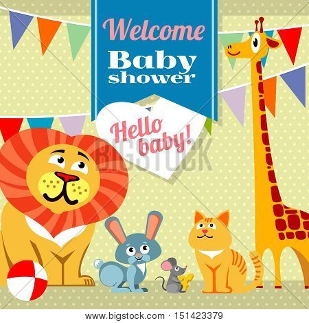 Baby shower celebration greeting invitation card vector template. Rabbit and mouse, cat and giraffe, lion and bunny illustration